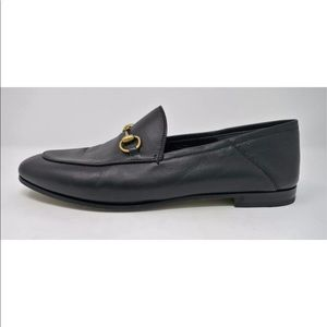 GUCCI Black Leather Brixton Horsebit Loafers